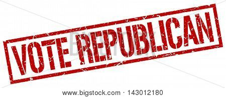 vote republican stamp. red grunge square isolated sign