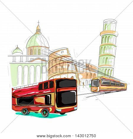 easy to edit vector illustration of Italy cityscape