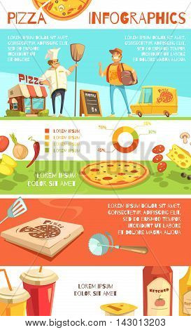 Pizza infographics flat layout with information about pizza ingredients and fast home delivery by courier vector illustration