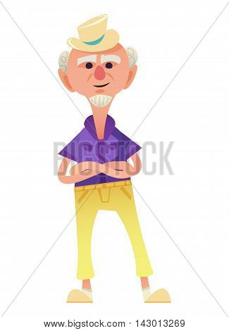 Funny old man in summer hat standing with his hands clasped. Small beard and yellow trousers on him. Isolated on white background.