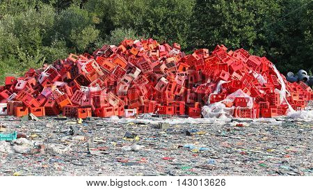 Big Bunch of Red Crates for Recycling