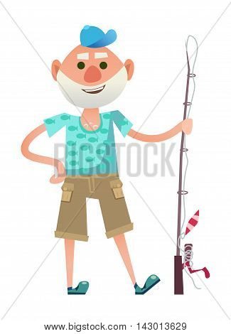 Cute old person standing with fishing rod and smiling. Senior man resting outdoors. Isolated on white background.