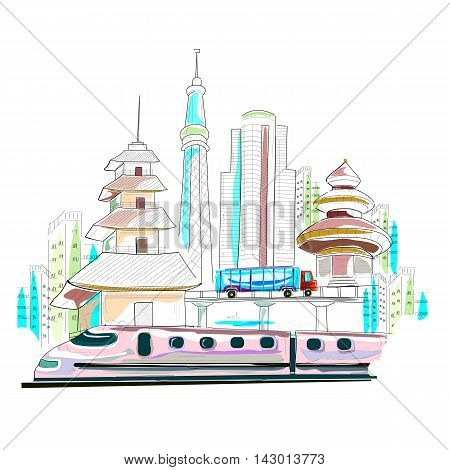 easy to edit vector illustration of Japan cityscape