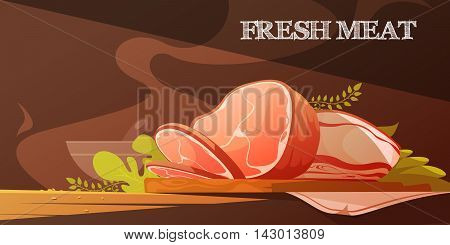 Fresh meat flat vector illustration in cartoon style with delicious slice of bacon and baked pork ham