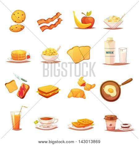 Classic breakfast icons collection with beacon fruits croissant milk and english tea abstract retro isolated vector illustration