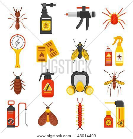 Pest control flat icons set with tick ant mosquito fly cockroach repellent and insecticide isolated vector illustration