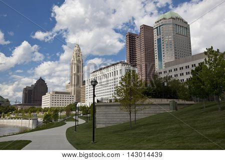 The Scioto Mile waterfront park runs along the Scioto river in Columbus, Ohio.