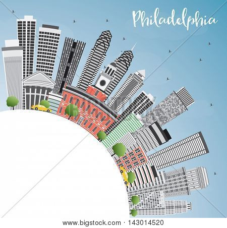 Philadelphia Skyline with Gray Buildings, Blue Sky and Copy Space. Vector Illustration. Business Travel and Tourism Concept with Philadelphia City. Image for Presentation Banner Placard and Web Site.
