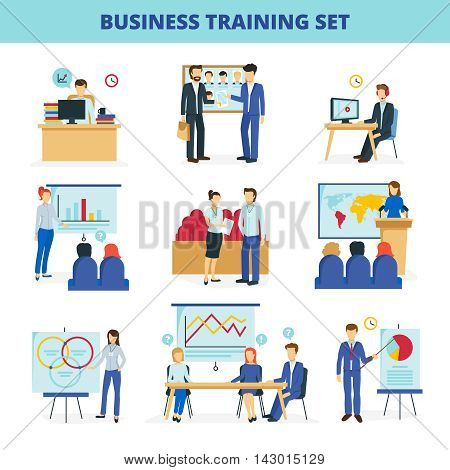 Business training and consulting institute programs for effective leadership and innovations flat icons collection isolated vector illustration