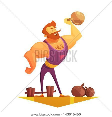Traveling chapiteau circus show element retro cartoon style icon with strongman lifting barbels abstract vector illustration