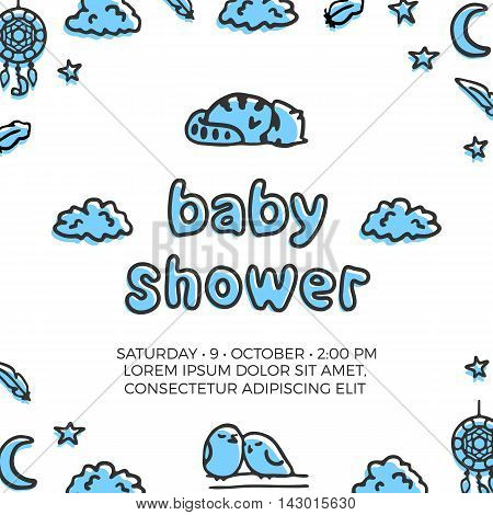 Baby shower vector template with cute sleeping raccoon and a couple of birds. Doodle illustrations and lettering