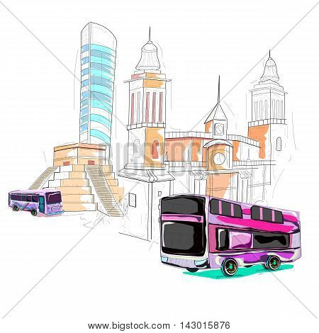 easy to edit vector illustration of Mexico cityscape