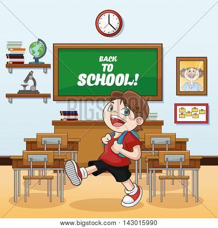 kid boy classroom back to school cartoon icon. Colorful design. Vector illustration