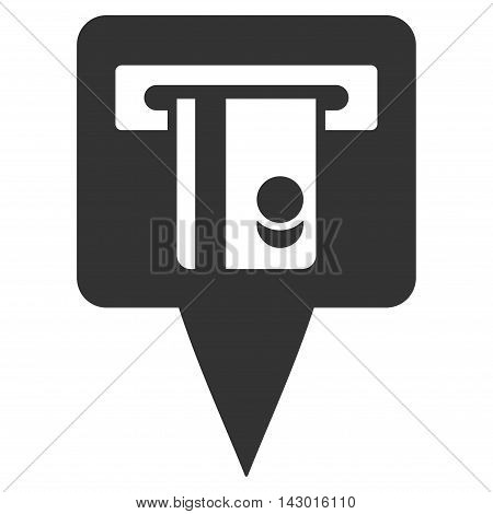 ATM Terminal Marker icon. Glyph style is flat iconic symbol with rounded angles, gray color, white background.