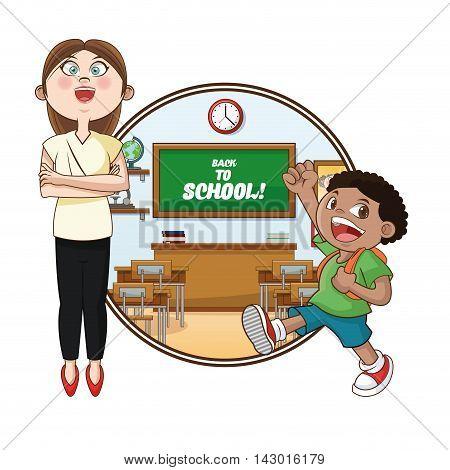 teacher boy kid classroom back to school cartoon icon. Colorful design. Vector illustration