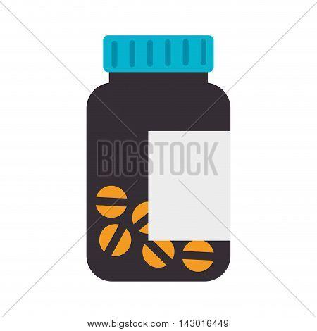 bottle prescription pills drug medicine container medicament vector illustration isolated