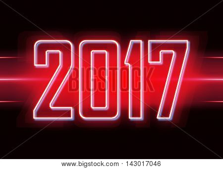 Technology background with transparent figures 2017 for New Year