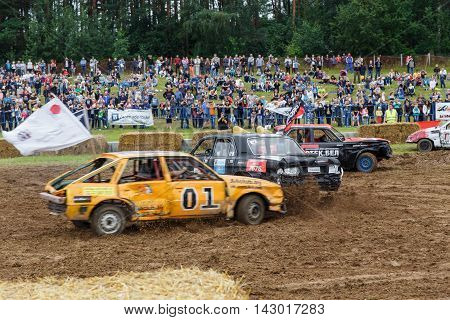 GRODNO BELARUS - AUG 13: Car fighting for survival on August 13 2016 in Grodno Belarus
