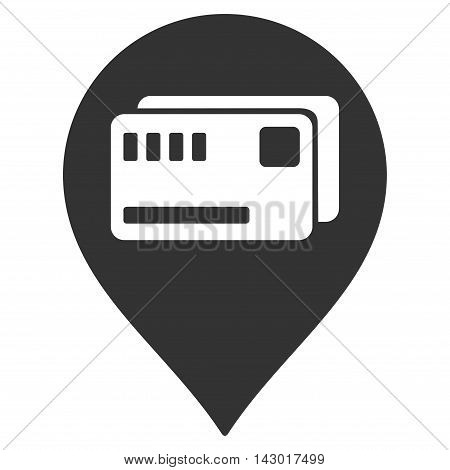 Tickets Map Marker icon. Glyph style is flat iconic symbol with rounded angles, gray color, white background.