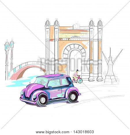 easy to edit vector illustration of Spain cityscape