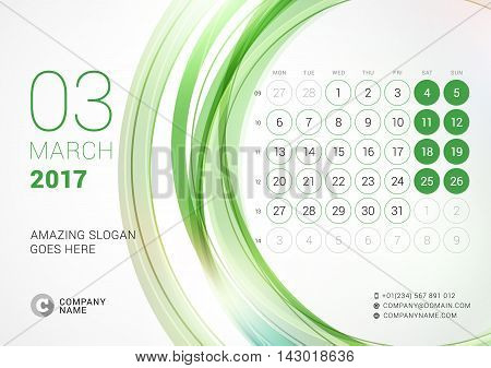 Desk Calendar For 2017 Year. March. Week Starts Monday. Vector Design Print Template With Abstract C