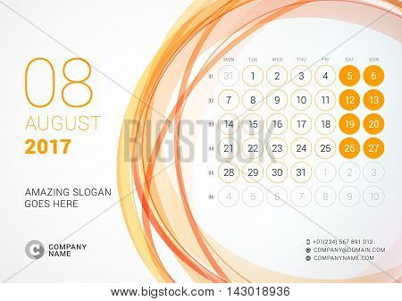 Desk Calendar For 2017 Year. August. Week Starts Monday. Vector Design Print Template With Abstract