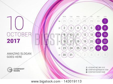 Desk Calendar For 2017 Year. October. Week Starts Monday. Vector Design Print Template With Abstract