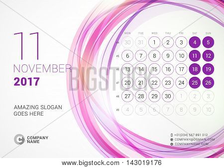 Desk Calendar For 2017 Year. November. Week Starts Monday. Vector Design Print Template With Abstrac