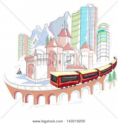 easy to edit vector illustration of Switzerland cityscape