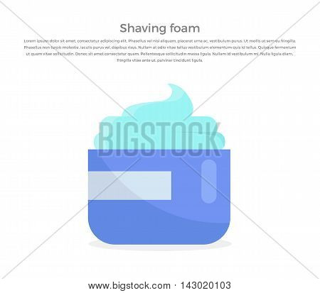 Shaving foam banner illustration. Human basic hygiene conceptual illustration. Flat style design. Shaving foam in tube vector for skin care products ad, cosmetics companies, web pages design.