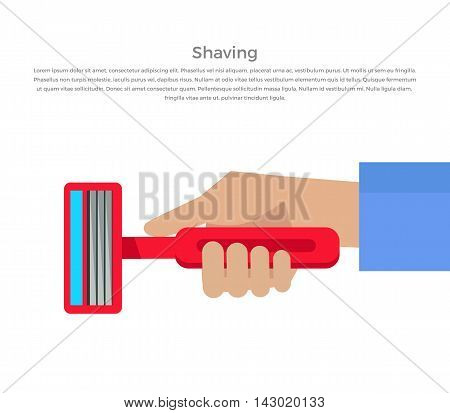 Shaving banner illustration. Human basic hygiene conceptual illustration. Flat style design. Shaving razor in hand vector for skin care products ad, cosmetics companies, web pages design.