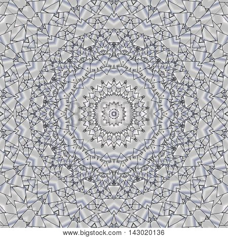 Kaleidoscopic pattern platinum. The image is computer graphics created using various programs. It can be used in the design of your site design textile printing industry in a variety of design projects.