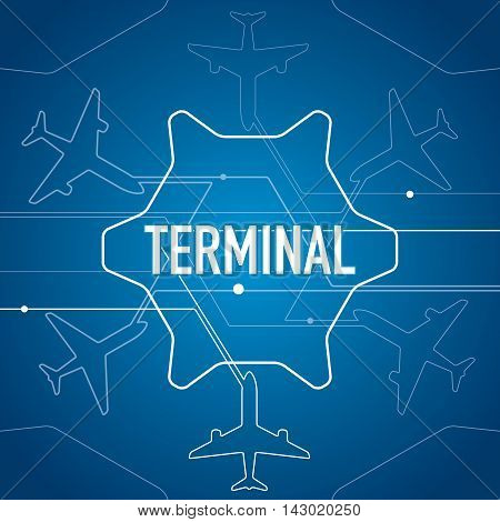 Airplane terminal, white lines, vector design background, abstract aviation blue wallpaper