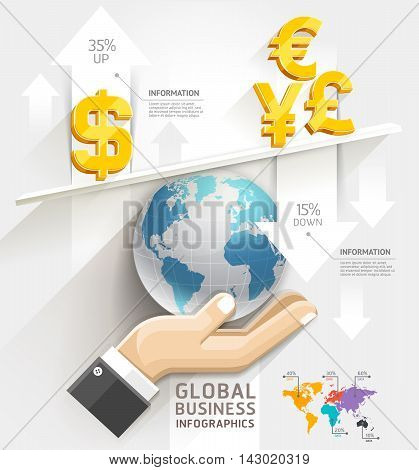Global business scale Infographics template. Vector illustration. can be used for workflow layout banner diagram number options web design.