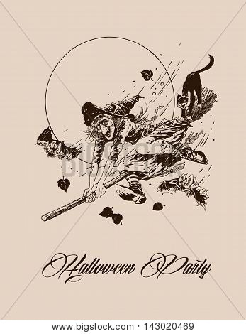 Vintage halloween witch flying on broom with black cat vector illustration monochrome for party posters