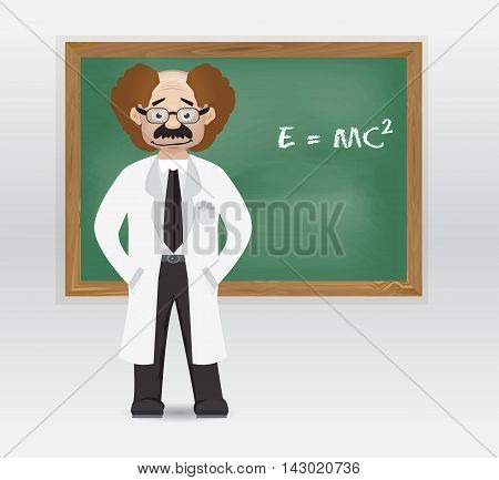 cartoon professor with work outfit and chalkboard on his back