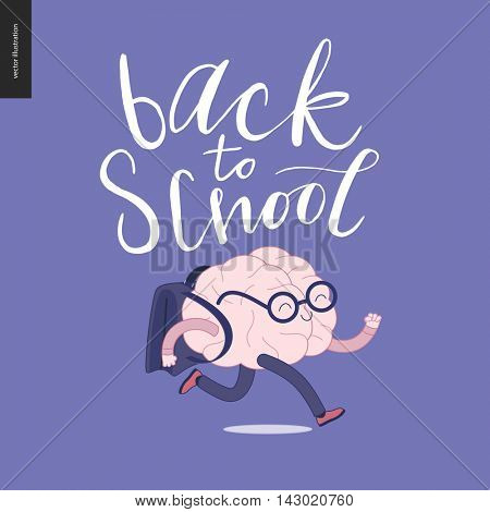 Back to school lettering. Flat cartoon vector illustration - a brain wearing glasses running with a schoolbag.