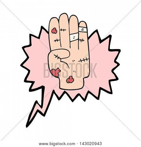 freehand drawn speech bubble cartoon injured hand