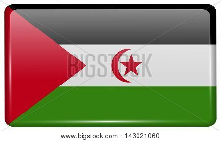 Flags Western Sahara In The Form Of A Magnet On Refrigerator With Reflections Light. Vector