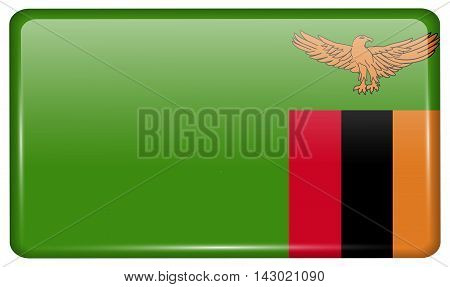 Flags Zambia In The Form Of A Magnet On Refrigerator With Reflections Light. Vector