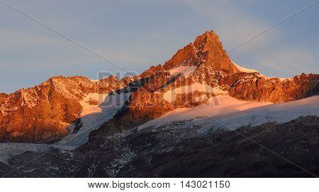 High mountain in Zermatt Swiss Alps. Mt Zinalrothorn. Morning scene.