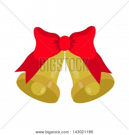 gold Jingle bells with red bow, isolated