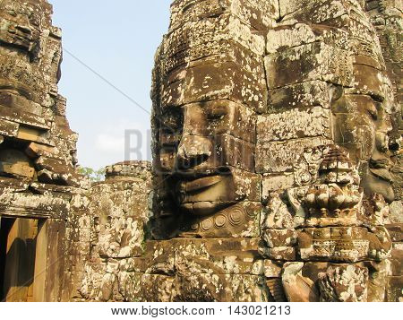 The Bayon stone faces of the people, Siem reap, Cambodia, was inscribed on the UNESCO World Heritage List in 1992.