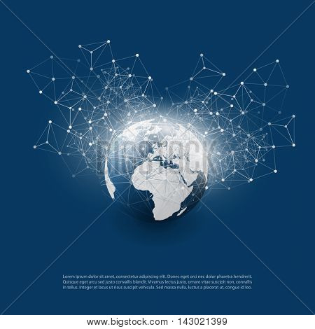 Abstract Cloud Computing and Global Network Connections Concept Design with Transparent Geometric Mesh, Wireframe Sphere, Earth Globe - Illustration in Editable Vector Format