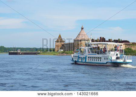 SHLISSELBURG, RUSSIA - AUGUST 01, 2016: Pleasure boat