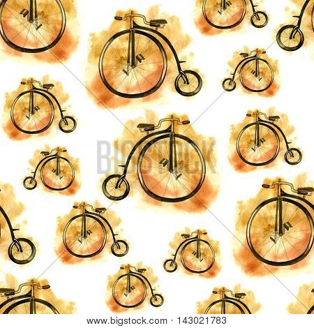 Hand drawn watercolor bicycle seamless patternb with old bike.