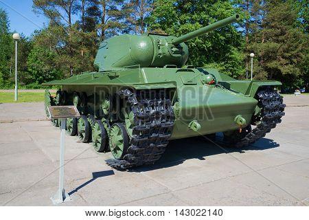 LENINGRAD REGION, RUSSIA - JUNE 08, 2015: Soviet heavy tank KV-1S during the Second world war a sunny summer day. Memorial
