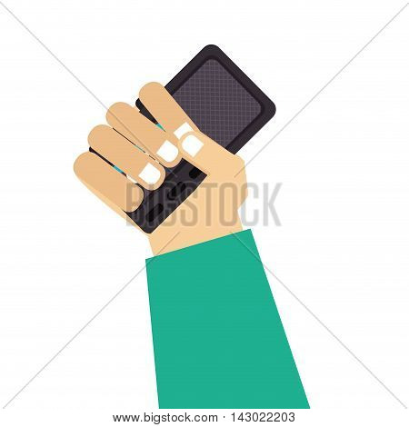 radio hand recording broadcast recorder news equipment electronic vector illustration isolated