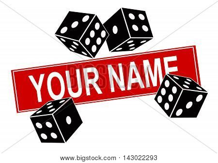 Vector illustration of dice on a white background and a template for the name of the company