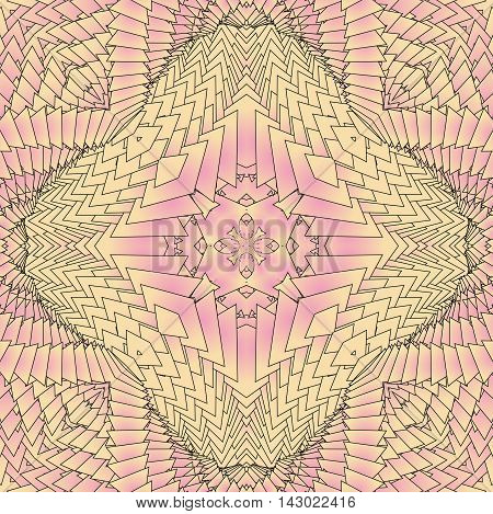 Kaleidoscopic pink pattern. The image is computer graphics created using various programs.